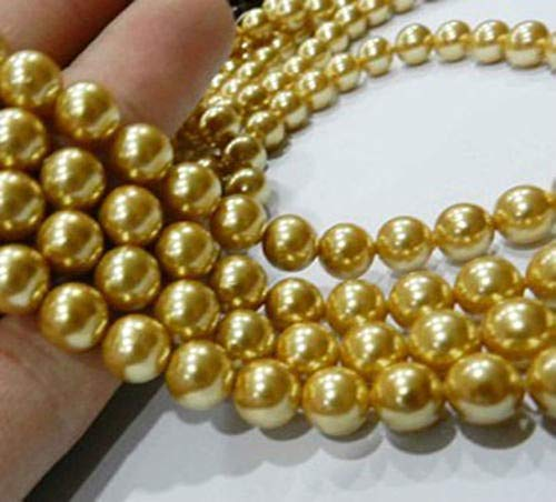 FidgetKute 8mm Golden South Ocean Shell Pearls Gemstone Round Loose Beads 15