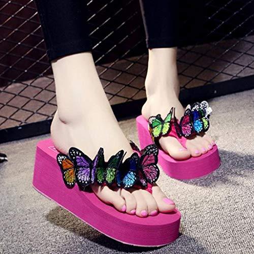 Acolchados Abierta Rosa Flor Zapatos Para De Romanas Riou Mariposa Punta Zapatilla Verano Cuña Chanclas Mujer Caliente Sandalias Playa FqHAnw