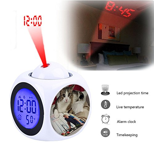 Projection Alarm Clock Wake Up Bedroom with Data and Temperature Display Talking Function, LED Wall/Ceiling Projection,Customize The pattern-082.Chef Mario. Gordon Ramsay Kitchen Recipe Book cat (Talking Cat Clock)