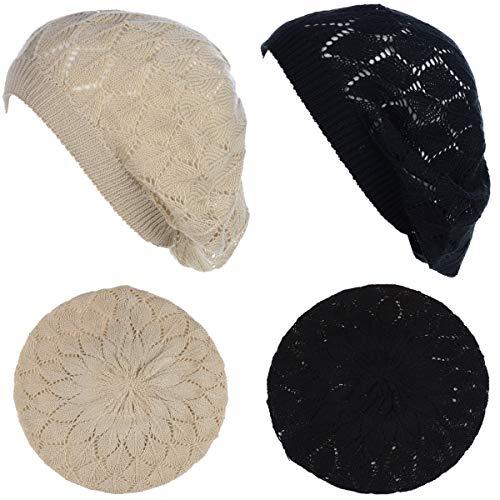 BYOS Chic Parisian Style Soft Lightweight Crochet Cutout Knit Beret Beanie Hat