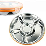 LITTLEPIG Stainless Steel 5 Compartment Plate with a Lid Small Divided Kid Plate for Babies Toddlers