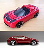 Tesla Model Roadster Hot Wheels #241 Convertible & Matchbox #7 All Red New Casting 2015 in PROTECTIVE CASES