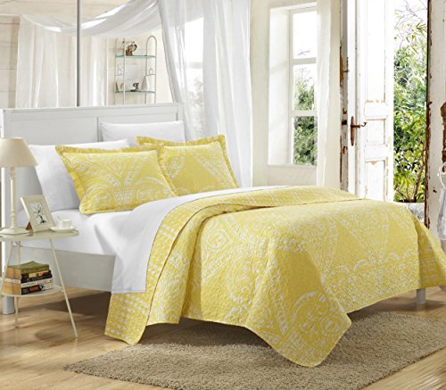poli Reversible Printed Quilt Set, Twin, Yellow ()