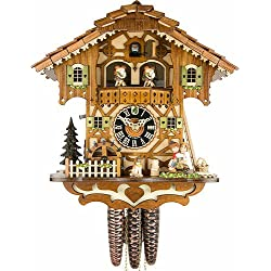 Hönes Cuckoo Clock moveable kissing Couple, turning mill-wheel