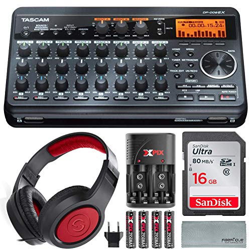 Tascam DP-008EX 8-Track Digital Pocket studio Along with Samson Studio Headphones And Deluxe Bundle