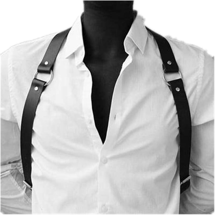 Accesorios de la camisa del arnés del pecho del cuerpo de cuero de los hombres Hebillas ajustables Correas del anillo Ropa del club Traje