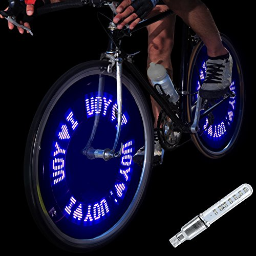 DAWAY A08 Bike Tire Valve Stem Light - LED Waterproof Bicycle Wheel Lights Neon Flashing Lamp Glow in The Dark Cool Safe Accessories (1 Pack, Blue+Letters)