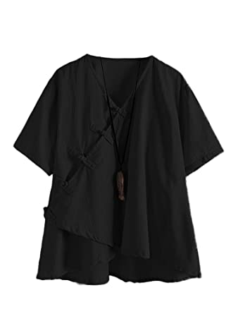 372281be01 Minibee Women s Linen Retro Chinese Frog Button Tops Blouse Black L
