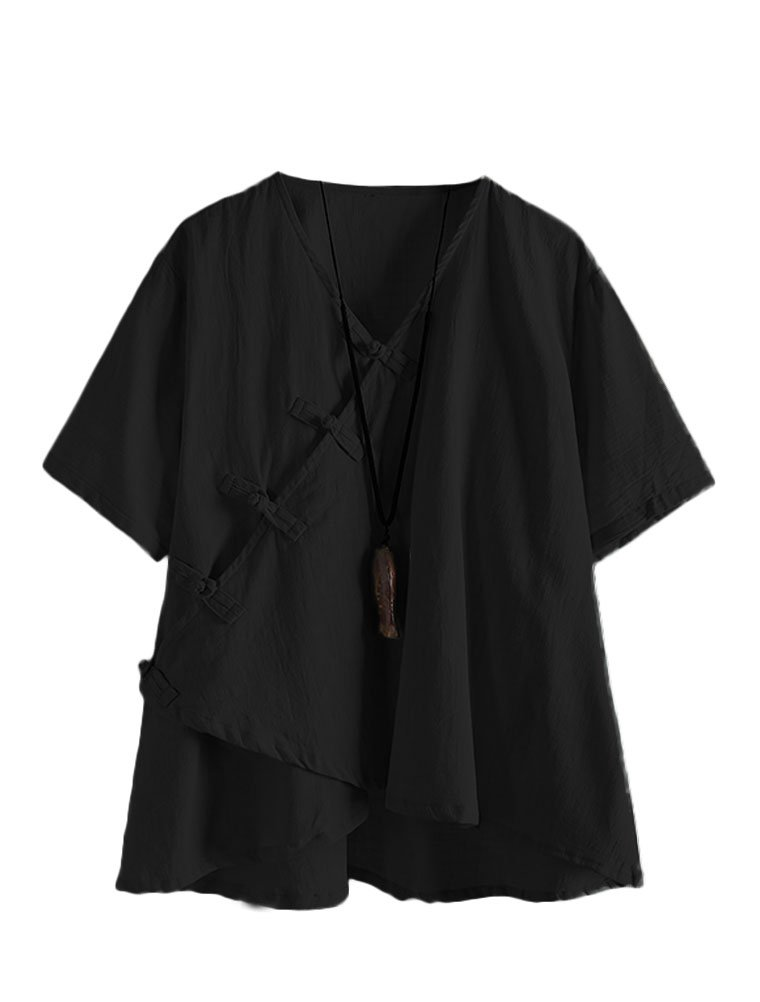 Minibee Women's Linen Retro Chinese Frog Button Tops Blouse Black XL