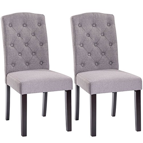 Giantex Set of 2 Linen Fabric Wood Accent Dining Chair Tufted Modern Living Room (Gray) (Accent Chairs Dining Room)
