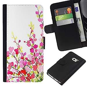 All Phone Most Case / Oferta Especial Cáscara Funda de cuero Monedero Cubierta de proteccion Caso / Wallet Case for Samsung Galaxy S6 EDGE // Green White Pink Purple Spring