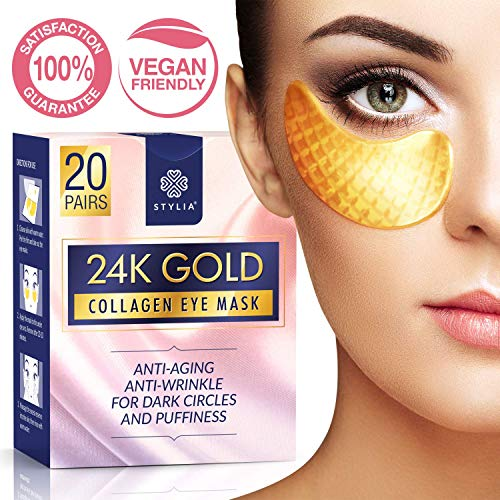 20 Pairs Under Eye Mask Patches, 24k Gold Anti-Aging Eye Bags Treatment Pads with Collagen and Hyaluronic Acid Serum for Reducing Wrinkles and Puffy ()