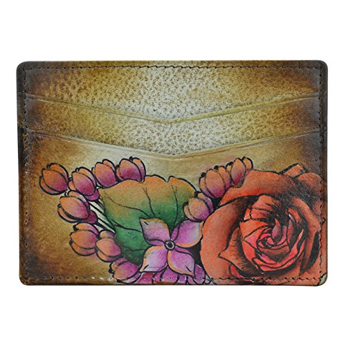 Anuschka Women's Genuine Leather Wallet | Hand Painted Original Artwork | Credit Card Case | Lush Lilac Bronze