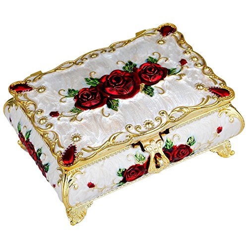 (SUNYIK Vintage Enameled Rectangular Decorative Collectible Jewelry Trinket Box for Women,White with Red Rose Flower)