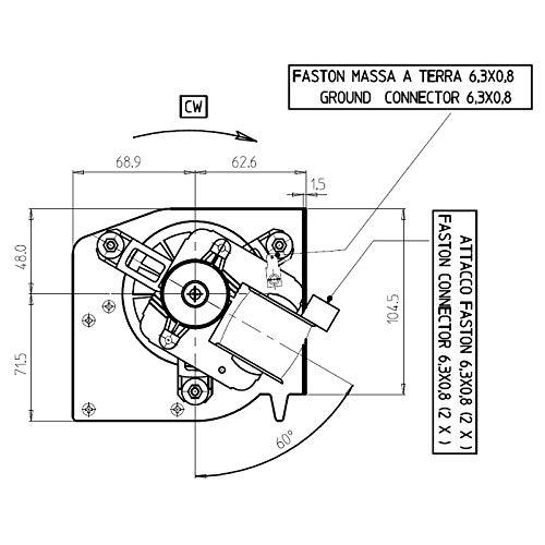 Easyricambi im9t Doble Emmevi fergas para Estufa de pellets. Largo 579 mm Ventilador mm. Boquilla: 2 x 230 x 44 mm: Amazon.es: Hogar