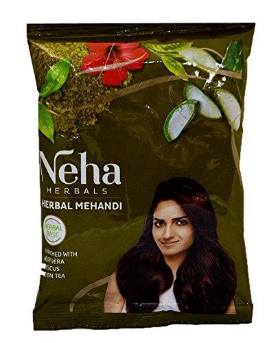 indianbeautifulstore 2 Pack Green Tea Aloe Vera Neha Herbal Hair Mehandi Brown Paste 100% Herbal Base