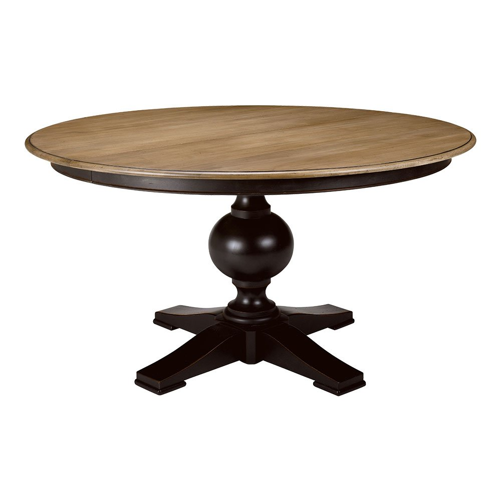 Amazon com ethan allen cooper round pedestal dining table 60 diameter rye charcoal tables