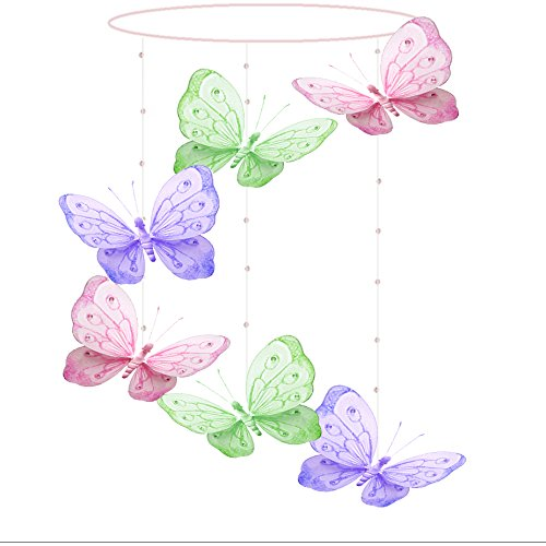 Butterfly Mobile Pink Purple Green Shimmer Spiral Nylon Mesh Butterflies Mobiles Decorations Decorate Baby Nursery Bedroom Girls Room Ceiling Decor Party Baby Shower Baby Crib Hanging Mobile 3D Art ()