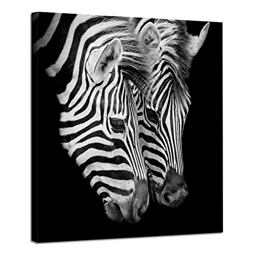 (Zebra Picture Wildlife Wall Decor: Animal Artwork Print on Canvas in Black Wall Art)