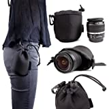 DURAGADGET Black Draw String Lens Pouch for Olympus OM-D EM-1 Compact System Camera - M.ZUIKO DIGITAL 45mm 1:1.8 - M.ZUIKO DIGITAL ED 40-150mm 1:4.0-5.6 R & M.ZUIKO DIGITAL ED 60mm 1:2.8 Macro In Water Resistance Neoprene