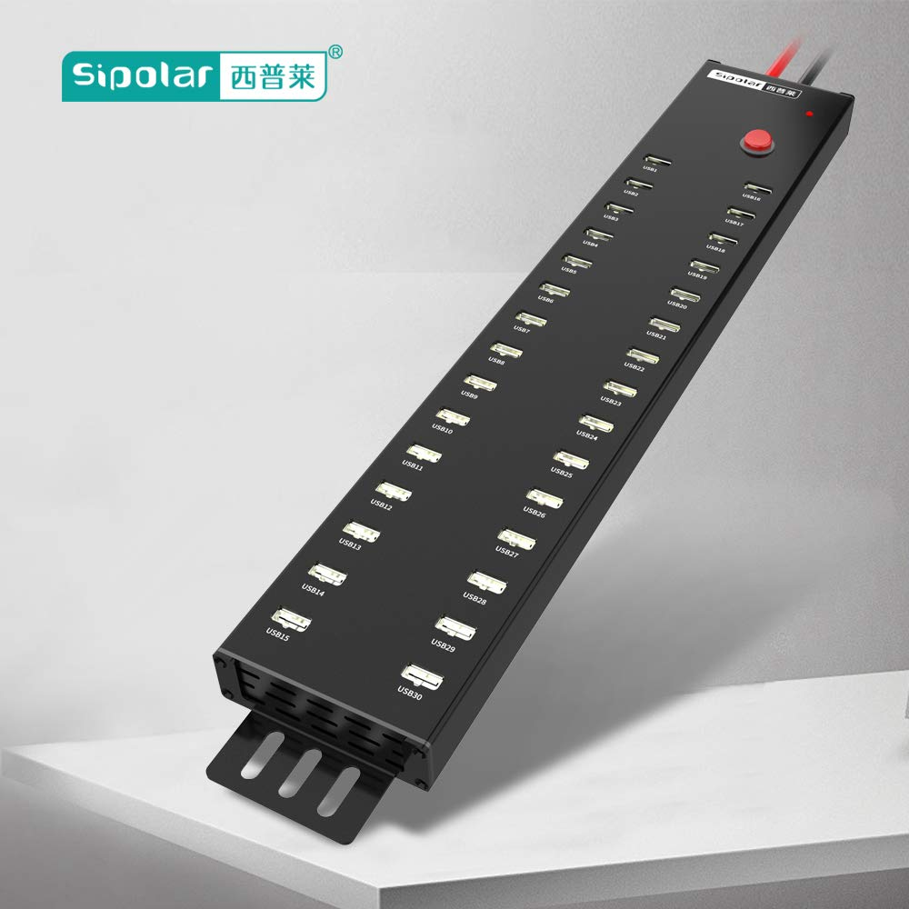 USB Charger Sipolar USB 2.0 Hub 30 Ports with 300W Power Supply USB Charging Station 2A Charging for 30 Tablets by Sipolar (Image #8)