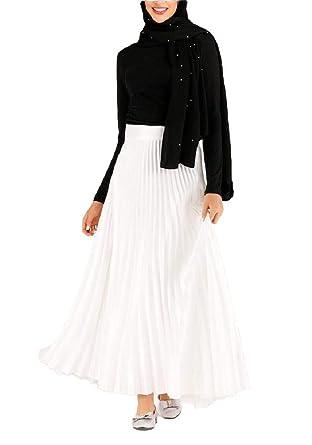 CuteRose - Falda Larga para Mujer (Cintura Alta, accordiona, con ...