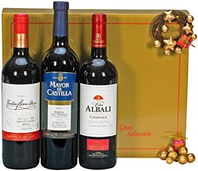 Lote Cesta Gourmet de Navidad - ESTUCHE REGALO VINOS Incluye 1 Bot. Vino tinto VIÑA ALBALI Crianza D.O. Valdepeñas 75cl 1 Bot. Vino tinto FAUSTINO RIVERO Crianza D.O. RIOJA 75cl 1 Bot.