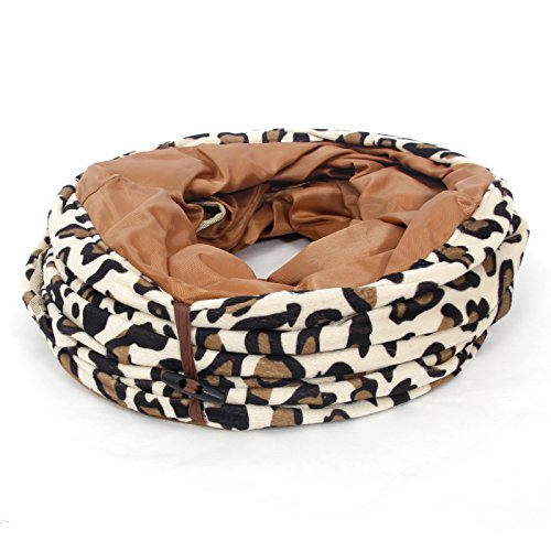 new Cat Tunnel Leopard Print Crinkle Cat Tubes Kitten Collapsible Play Toy Foldable With Dangling Ball for Large Cats Animals Pet Toys 2 Holes Long Tunnels Diameter 11.8""