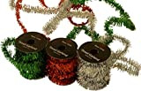 "Christmas Metallic Tinsel Garland, By Baron Carter 5 yards x 3/4"" thick each spool, Pack of 3 spools, Red Green and Silver for decorating gifts and trees"
