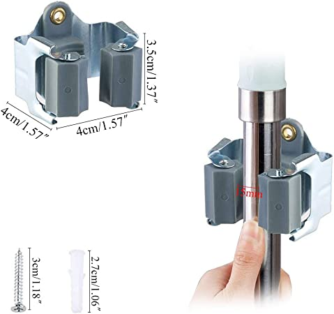 6 3-H Ger/ätehalter Besenhalter Werkzeughalter Gartenger/ätehalter Federstahl Leichte Montage//Klemmfix//Wandhalter//Schnellspanner