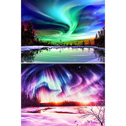 5D Diamond Painting Norwegian Aurora Polar Full Drill by Number Kits for Adults, Yomiie Polar Lights Landscape Paint with Diamonds Art Rhinestone Embroidery Cross Stitch Decor (12 x 16 inch, 2 ()