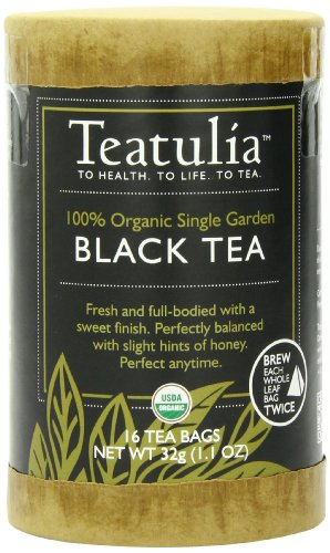Teatulia Organic Black Tea, 16 Count Pyramid Tea Bag