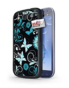 Blue and White Flowers Butterfly Design Black Plastic Cover Case for Samsung S3