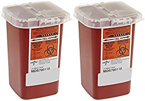 Medline Sharps Container Biohazard Disposal Needle, 32 Ounce