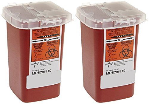 Sharps Container Biohazard Needle Disposal - 1 Quart - Pack of 2 (2 Pack Needles)