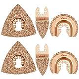 6pcs Universal Carbide Oscillating Saw Blades, HEMUNC Mixed Multitool Saw Blades Semicircle Triangular Finger Kit for...
