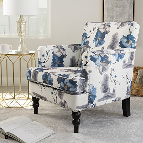 Modern Floral Print Upholstery Accent Club Chairs with Silver Nailheads and Wood Legs - Includes Modhaus Living Pen