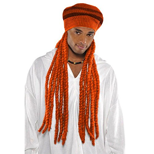 Amscan Funny Dreadlock Wig with Tam Cap (1 Piece), Orange, 10.75 x 7.6""