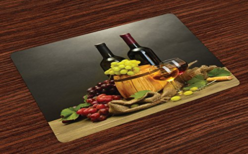 (Ambesonne Winery Place Mats Set of 4, Cask Bottles and Glasses of Wine and Ripe Grapes on Wooden Table Picture Print, Washable Fabric Placemats for Dining Table, Standard Size, Grey Taupe)