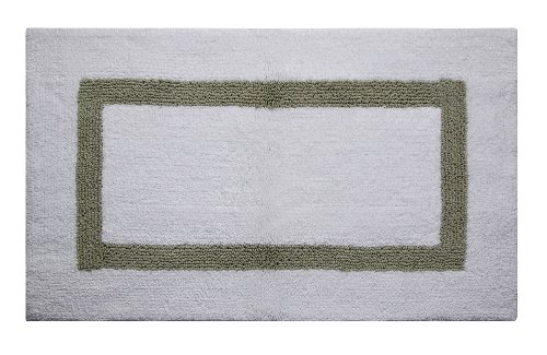 Better Trends / Pan Overseas Hotel Collection 200 GSF 100-Percent Cotton Reversible Bath Rugs, 21 by 34-Inch, White/Sage