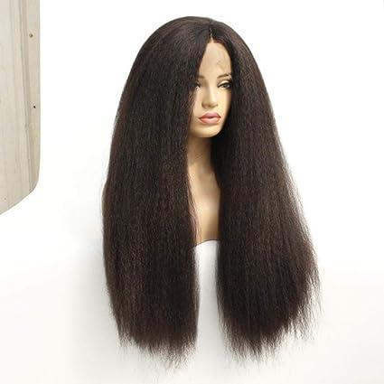 Cabello peluca ondulada larga marrón 18 pulgadas densidad pelucas ...