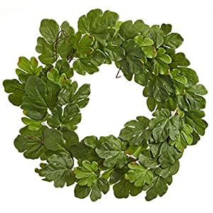 "40"" Silk Fig Leaf Hanging Wreath -Green (Pack of 2) 52"