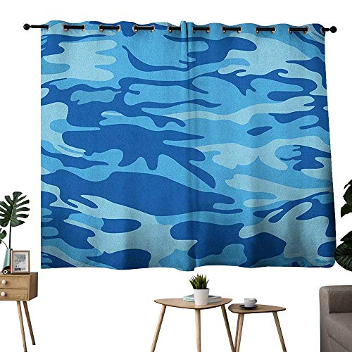 bybyhome Camouflage Grommets Blackout/Room Darkening Curtains Abstract Camouflage Costume Concealment from The Enemy Hiding Pattern Two Panels Pale Blue Navy Blue W63 x L45 ()