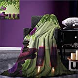 Spa wearable blanket Zen Stones Aromatic Candles and Orchids Blooms Treatment Vacation security blanket Fern Green Purple Pale green size:50''x60''