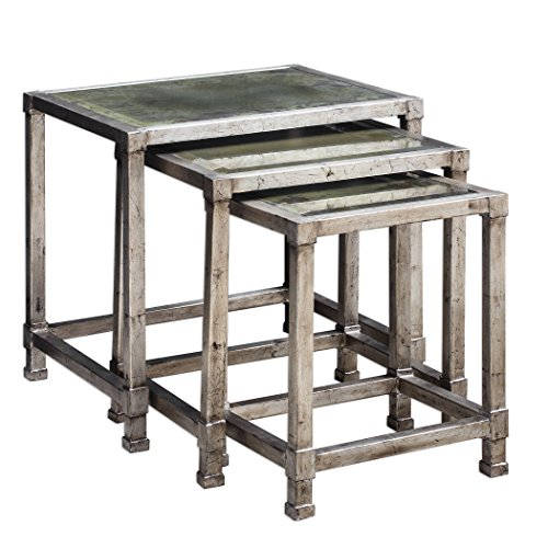 - Antiqued Silver Iron Nesting Accent Table Set | Mirror Glass Top Rustic Modern