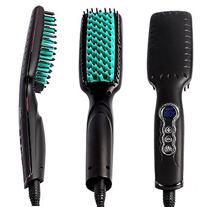 Portátil cepillo de pelo alisado de Peine Plancha de pelo, cepillo de cabello con temperatura