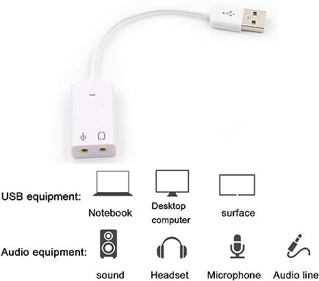 SKYYKS 7.1 Scheda Audio USB Esterna USB a Jack Scheda Audio da 3,5 mm Cuffie Audio digitali Microfono Scheda Audio per Mac