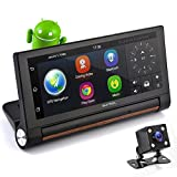 "Cheap GPS Touchscreen Android DVR Dashcam – 7"" Display, Navigation Dual Built-in Adjustable Front and Rear Camera – Wi-Fi Bluetooth Wireless FM Radio and Rechargeable Battery – Pyle PLDVRCAMAND75"