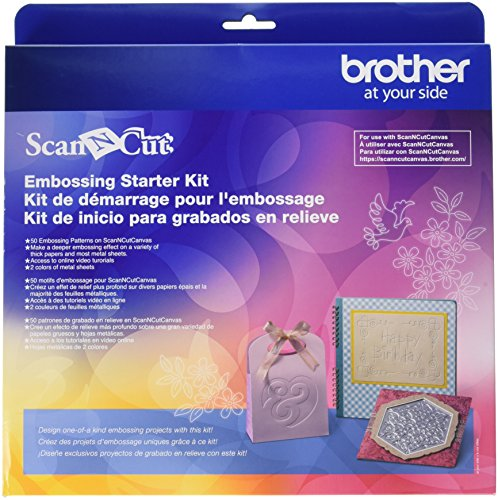 (Brother CAEBSKIT1 Embossing Starter Kit, Card Embossing Kit, Scrap Booking Starter Kit, For Use with Brother ScanNcut or ScanNcut2 Machines, 50 Embossing Patterns, 12