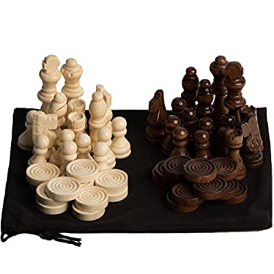 GrowUpSmart Staunton Style Chess & Checkers Pieces Set Made Of Wood In Velvet Bag - For Replacement Of Missing Pieces Or If You Only Have A Chess Board
